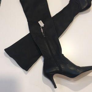 UTERQUE Women's Black Thigh High Heel Boots